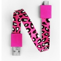 Mohzy USB to Micro USB Loop Cable in Cherry Leopard Pattern