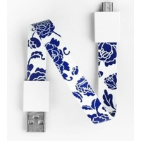Mohzy USB to Micro USB Loop Cable in Blue Peony Pattern